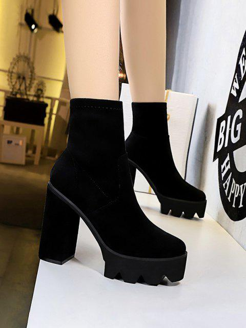 new Suede Chunky Heel Platform Boots - BLACK EU 38 Mobile