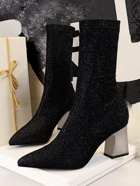 fashion Sparkly Pointed Toe Chunky Heel Boots - BLACK EU 38 Mobile