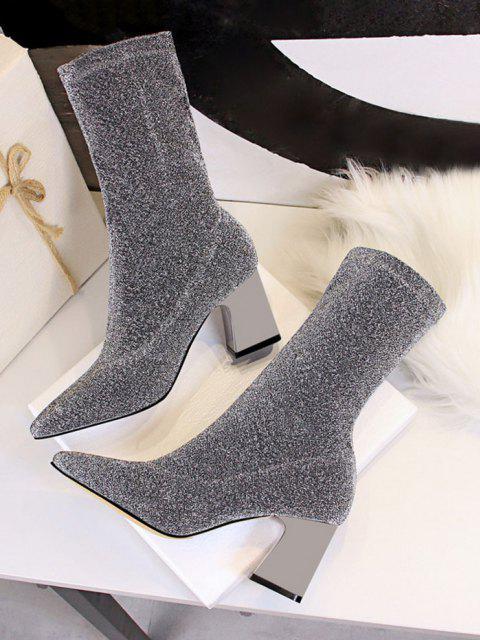 Sparkly Pointed Toe Chunky Heel Boots - بلاتين الاتحاد الأوروبي 39 Mobile