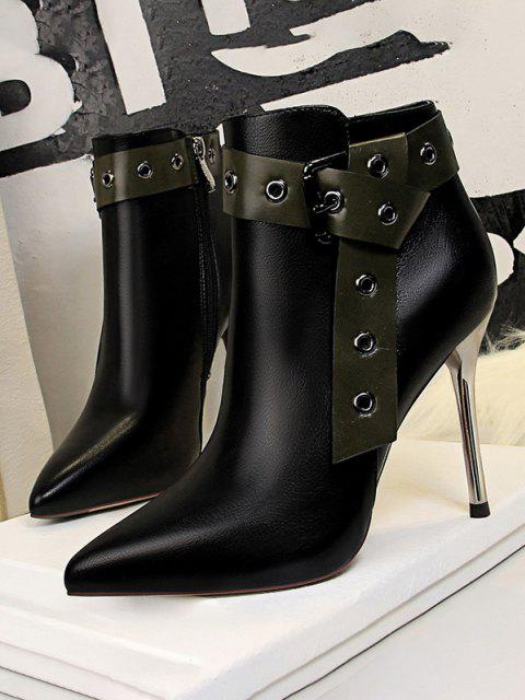 ladies Retro Stiletto Heel Pointed Toe Eyelet Buckle Boots - BLACK EU 40 Mobile