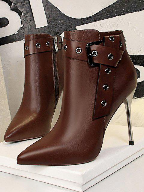 new Retro Stiletto Heel Pointed Toe Eyelet Buckle Boots - COFFEE EU 40 Mobile