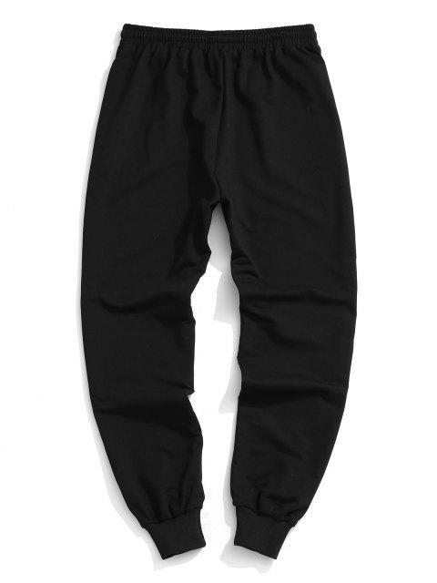 shops Plain Elastic Waist Jogger Sweatpants - BLACK XXL Mobile