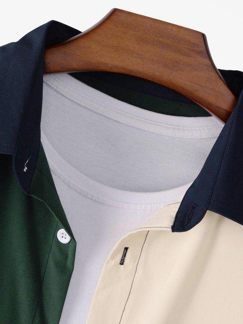 fancy Colorblock Patchwork Long Sleeve Shirt - MULTI XL Mobile