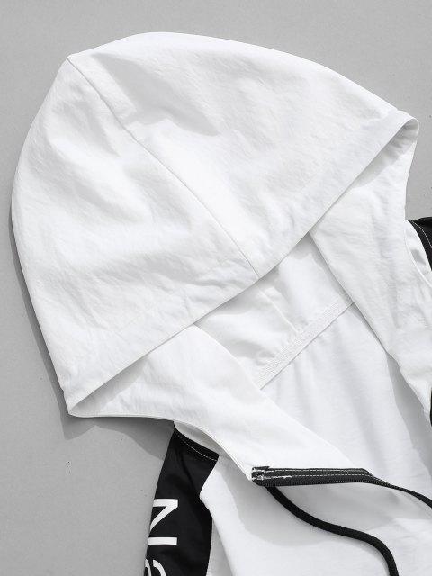 Sudadera con Capucha y Cordones Estampado de Bandera Americana - Blanco L Mobile