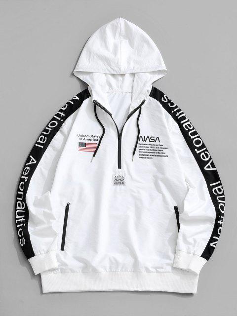 Sudadera con Capucha y Cordones Estampado de Bandera Americana - Blanco XL Mobile