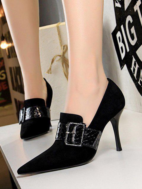 ladies Suede Snake Print Buckle Stiletto Heel Shoes - BLACK EU 39 Mobile