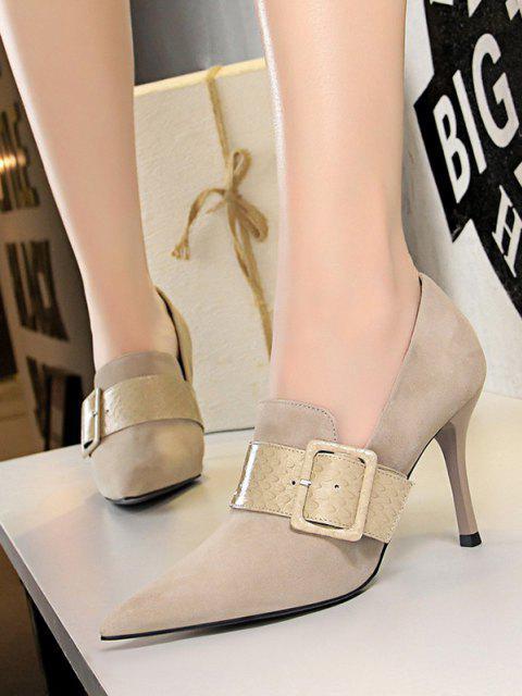 Chaussures Serpent Imprimé Bouclées à Talon Aiguille en Daim - Abricot EU 37 Mobile