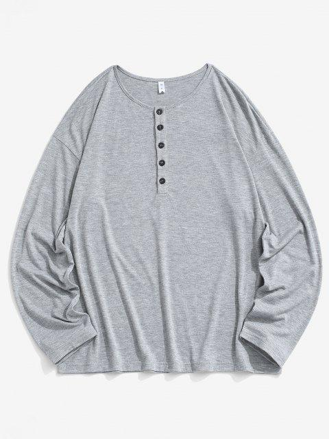 Half Button Long Sleeve Plain T-shirt - الرمادي الداكن L Mobile