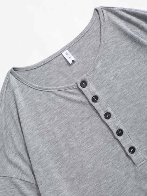 Camiseta Llana Manga Larga Medio Botón - Gris Oscuro XL Mobile