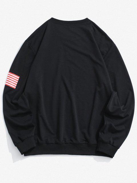 womens American Flag Letter Print Rib-knit Trim Sweatshirt - BLACK S Mobile
