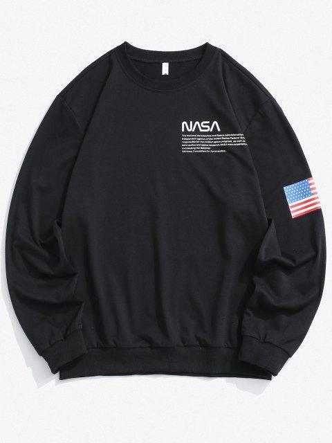 ladies American Flag Letter Print Rib-knit Trim Sweatshirt - BLACK L Mobile