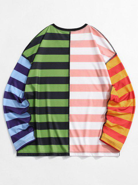 women's Colorblock Striped Stitching T-shirt - MULTI S Mobile