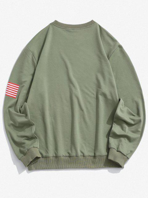 ladies American Flag Letter Print Rib-knit Trim Sweatshirt - DEEP GREEN 2XL Mobile