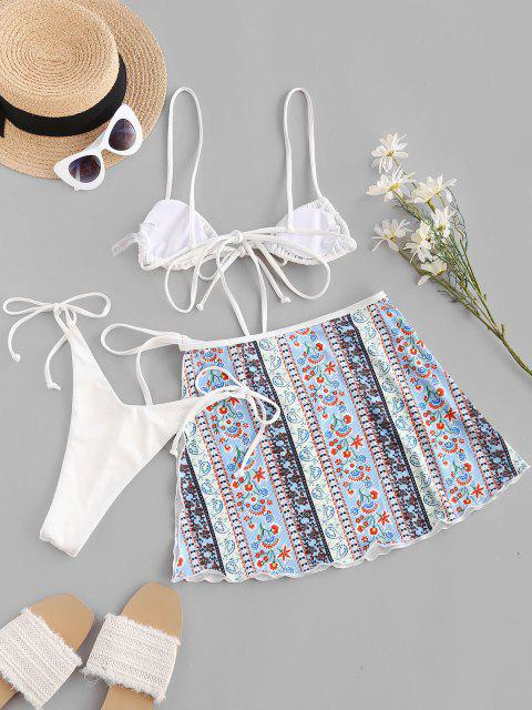 affordable ZAFUL Bohemian Flower Paisley Ribbed Three Piece String Bikini Swimwear - WHITE M Mobile
