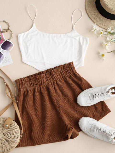 chic Corduroy Frilled Pull On Shorts - COFFEE XL Mobile