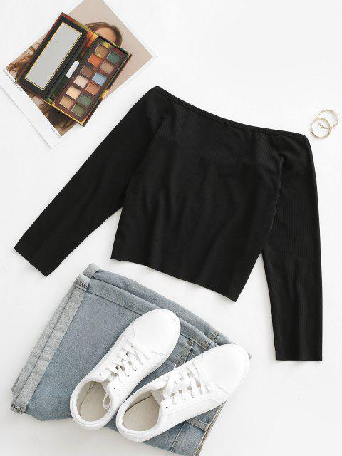 outfit Ribbed Hook and Eye Crop Tee - BLACK L Mobile