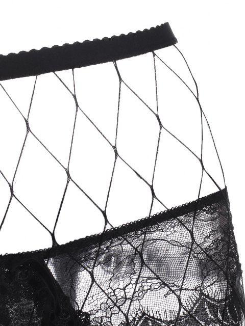 Collant en Résille avec String en Dentelle - Noir L Mobile