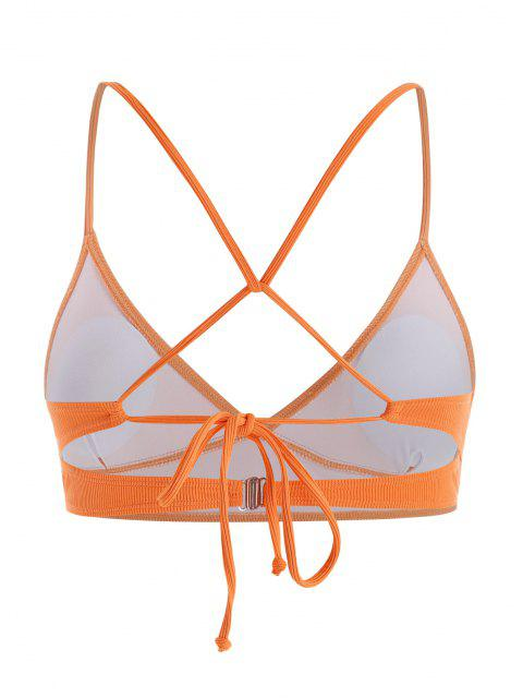 shop Plus Size Ribbed Back Tie Plunge Bikini Top - DARK ORANGE XL Mobile