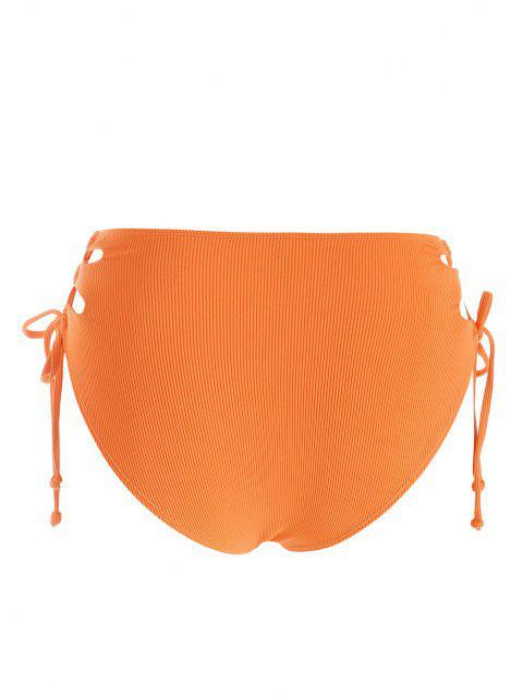 ZAFUL Bas de Bikini Côtelé Découpé de Grande Taille à Lacets - Orange Foncé XXL Mobile