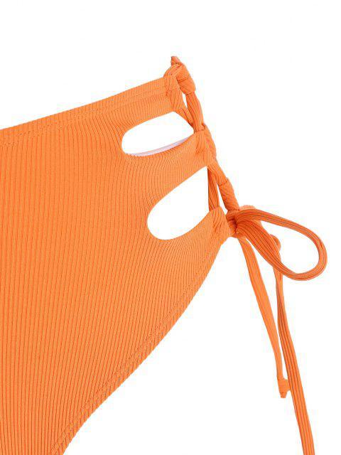 ZAFUL Bas de Bikini Côtelé Découpé de Grande Taille à Lacets - Orange Foncé XXXL Mobile