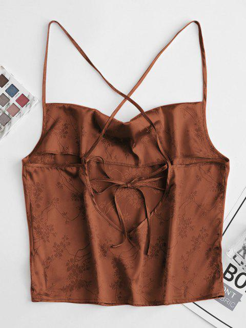 online ZAFUL Flower Jacquard Crop Camisole - DEEP COFFEE S Mobile