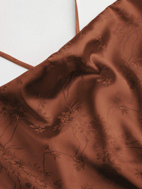 Canotta in Jacquard Floreale di Zaful - colore di caffè scuro  M Mobile