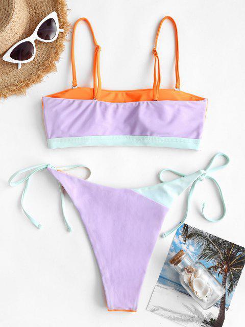 sale ZAFUL Colorblock High Leg String Bikini Swimwear - DARK ORANGE L Mobile