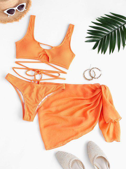buy ZAFUL Ribbed Wrap-tie Three Piece Swimsuit with Sarong - DARK ORANGE M Mobile