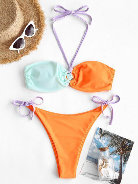 shops ZAFUL Colorblock O Ring Tie Side Tanga Bikini Swimwear - ORANGE L Mobile