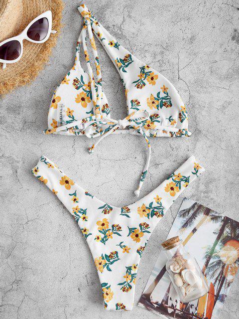 ZAFUL Gerippte Einziger Schulter Blumen Bikini Badebekleidung mit Hohem Schnitt - Gelb S Mobile