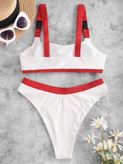 trendy ZAFUL Ribbed Bicolor Buckle High Cut Tankini Swimwear - WHITE L Mobile
