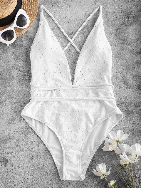 women's ZAFUL Tie-around Criss Cross Eyelet One-piece Swimsuit - WHITE M Mobile