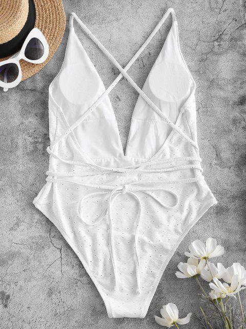 lady ZAFUL Tie-around Criss Cross Eyelet One-piece Swimsuit - WHITE XL Mobile