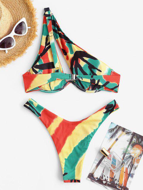Costume da Bagno Bikini di Tie-Dye a Costine a Monospalla di ZAFUL - Verde S Mobile