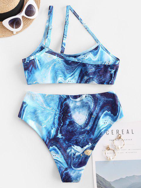Costume da Bagno Bikini a Vita Alta a Monospalla con Stampa Floreale di ZAFUL - Blu S Mobile