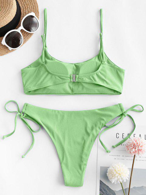 outfits ZAFUL Ribbed Tie Side Cami Bikini Swimwear - GREEN S Mobile