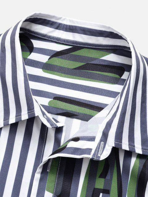 lady Striped Letter Pattern Short Sleeve Shirt - BLUE S Mobile