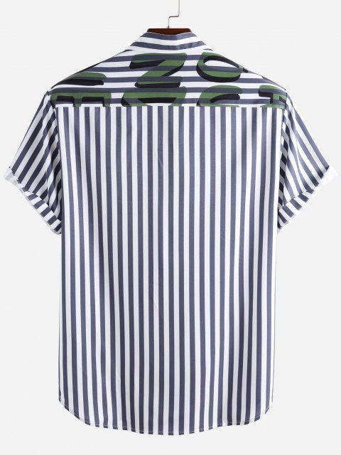 Gestreiftes Kurzärmliges Hemd mit Buchstabenmuster - Blau 3XL Mobile
