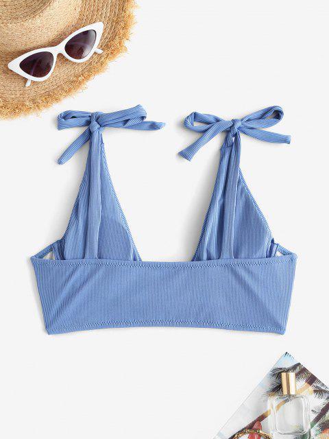 ZAFUL Bikini Top mit Gerippter Bügelbindung Seitlich - Blau S Mobile
