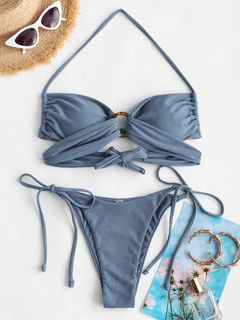 affordable ZAFUL Ribbed O-ring Cheeky Tanga Bikini Swimwear - DEEP BLUE M Mobile