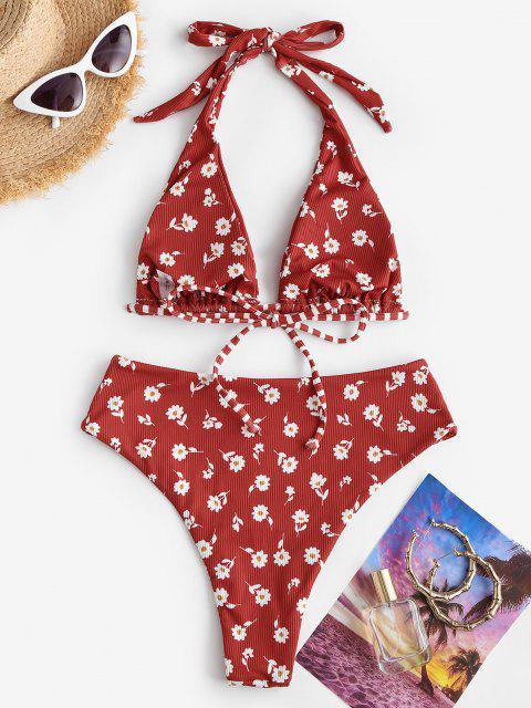 Costume da Bagno Bikini a Costine a Vita Alta con Stampa Fiori Piccoli di ZAFUL - Rosso S Mobile