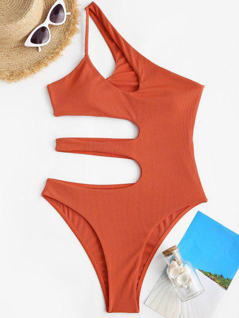 ZAFUL One Shoulder Cut Out Ribbed One-piece Swimsuit - البرتقالي S Mobile