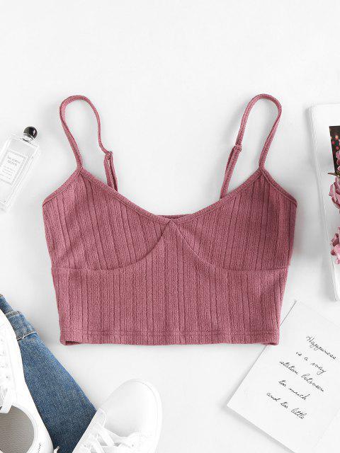 ZAFUL Camiseta de Colheita de Malha em Concha Cortado - Luz rosa L Mobile