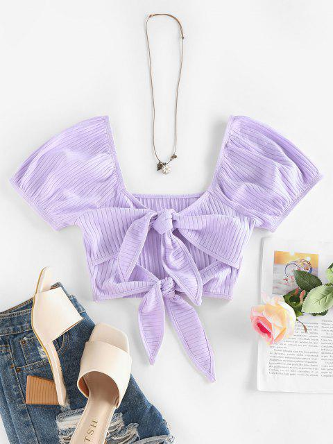 women ZAFUL Ribbed Front Tie Puff Sleeve Cropped Tee - LIGHT PURPLE M Mobile