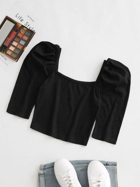 women Ribbed Puff Sleeve Crop Tee - BLACK S Mobile
