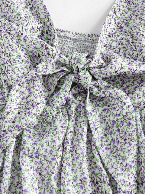 ZAFUL Camisole Péplum Fleurie Imprimée Plissée - Blanc XL Mobile