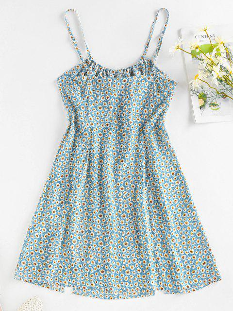 fancy ZAFUL Ditsy Print M Slit Bowknot Mini Dress - LIGHT BLUE XL Mobile