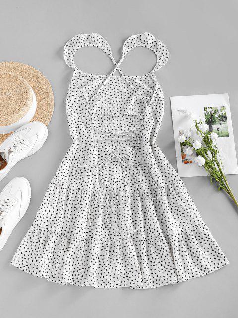 ZAFUL Herzdruck Rüschen Flare Kleid mit Schnürung - Weiß S Mobile
