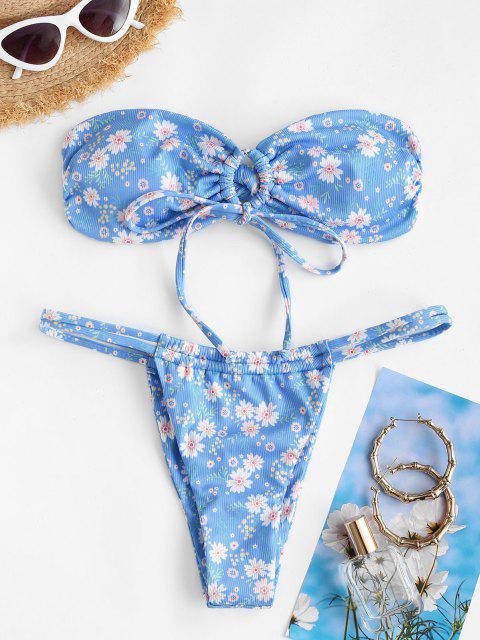 Costume da Bagno Bikini a Fascia Floreale a Costine di ZAFUL - Blu S Mobile