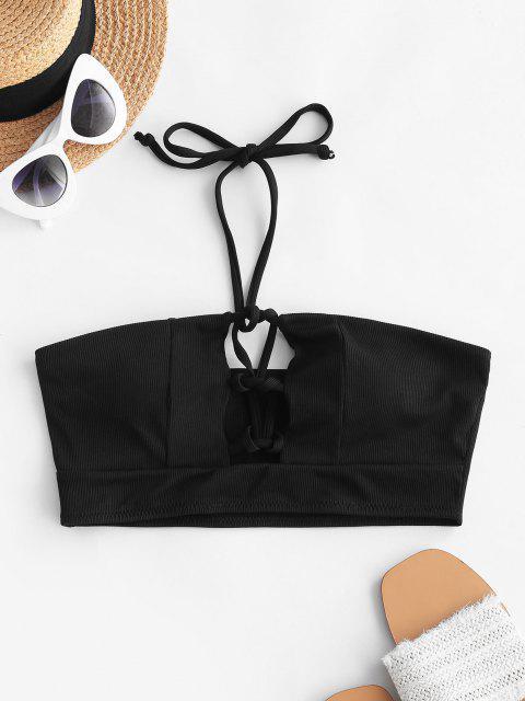 ZAFUL Haut de Bikini Côtelé à Lacets à Col Halter - Noir L Mobile